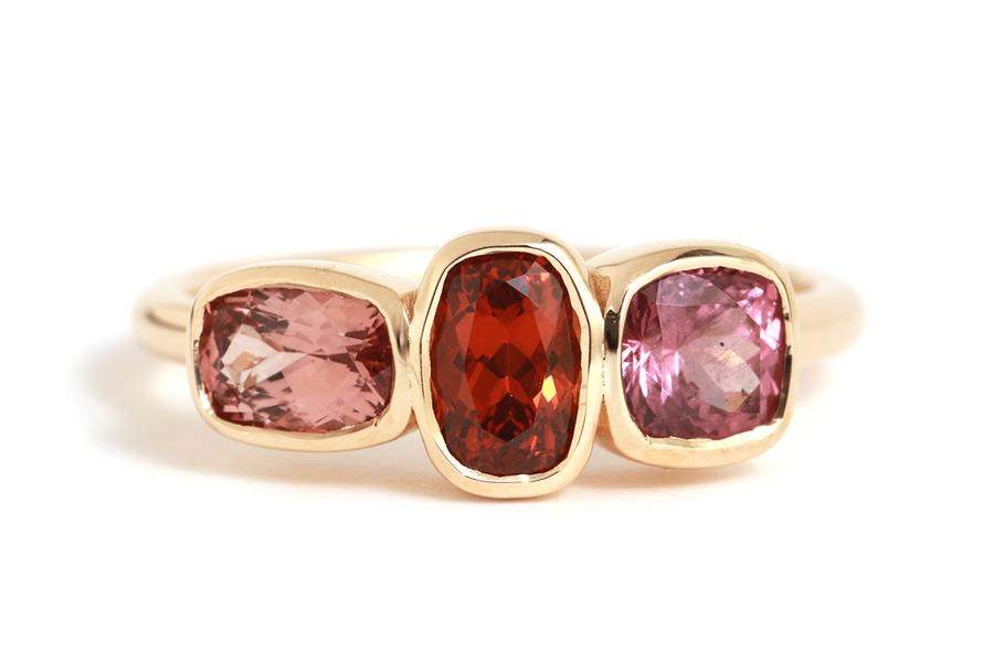 Melissa Joy Manning jewelry design Three Stone Garnet Ring