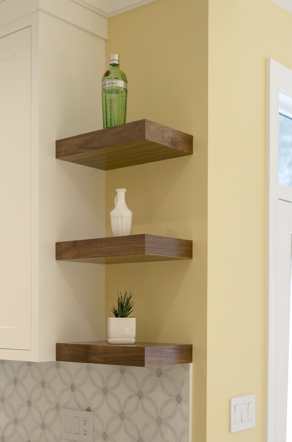 kitchen design tricks floating shelves