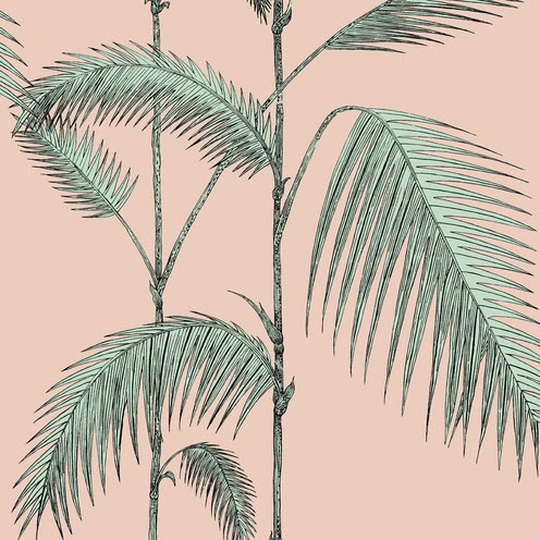 pink and green palm trees